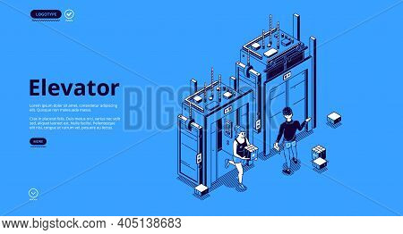 People In Elevator Isometric Landing Page. Characters Use Passenger Or Freight Lift, Man And Woman S
