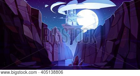 Flying Magic Castle At Night Bottom Up View, Fairy Palace Float In Dark Sky On Piece Of Rock Above M