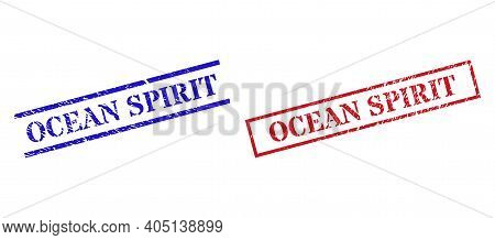 Grunge Ocean Spirit Stamp Seals In Red And Blue Colors. Seals Have Rubber Texture. Vector Rubber Imi
