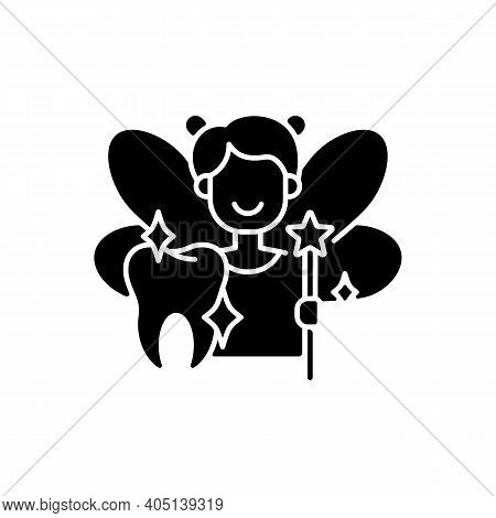 Pediatric Dentistry Black Glyph Icon. Painless Treatment For Dental Problems. Happy Children With He