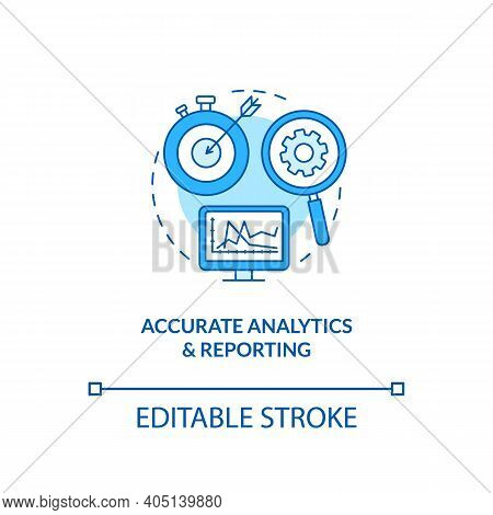 Accurate Analytics And Reporting Concept Icon. Forecasting Business Growth Idea Thin Line Illustrati