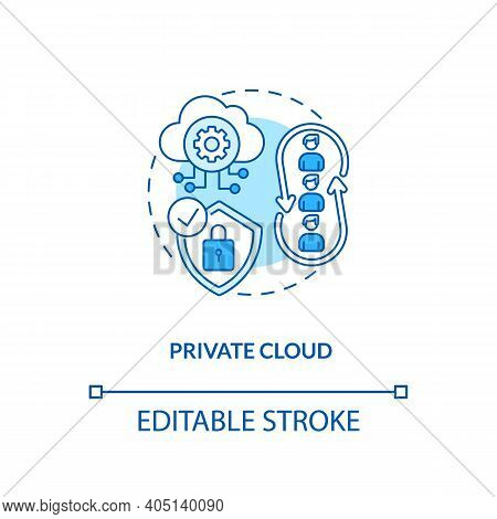 Private Cloud Concept Icon. Saas Deployment Model Idea Thin Line Illustration. Maintaining On Privat
