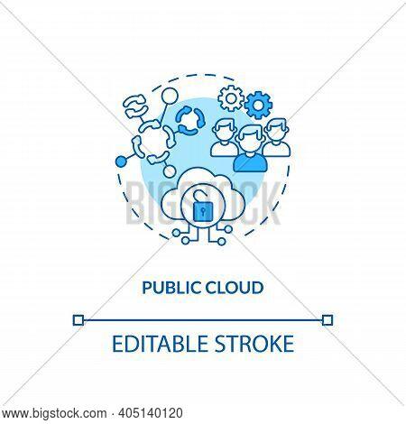 Public Cloud Concept Icon. Saas Deployment Model Idea Thin Line Illustration. Server, Storage Operat