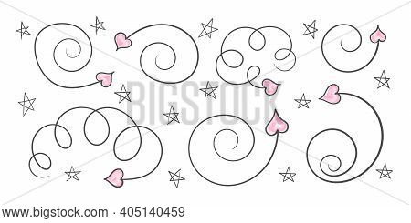 Hand Drawn Arrows. Valentine's Day Arrows. Pattern Hand Drawn. Hearts And Arrows. Vector Illustratio