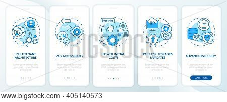 Saas Benefits Onboarding Mobile App Page Screen With Concepts. Multi-tenant Architecture, Initial Co