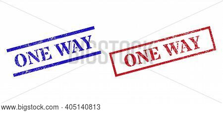 Grunge One Way Rubber Stamps In Red And Blue Colors. Stamps Have Distress Surface. Vector Rubber Imi
