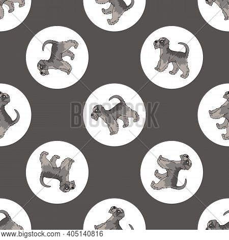 Hand Drawn Cute Schnauzer Dog Breed In Polka Dot Seamless Vector Pattern. Purebred Pedigree Puppy Do
