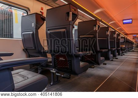 Individual Seats In A Railroad Car. Empty First Class Benches From German Railway. No Passengers In