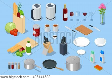 Isometric Electric Kettle, Different Food In Paper Bag, Knives In The Wooden Block, Glass Goblets, G