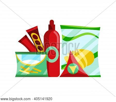 Snack Product Set. Fast Food Snacks Ketchup And Chips Isolated On White Background. Classic Fast Foo
