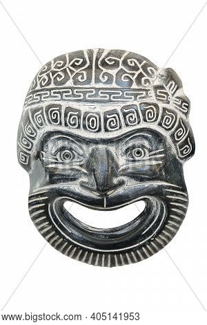 Ancient Reproduced Mask Used From Actors On Greek Ancient Tragedy And Comedy In Theater Performance,