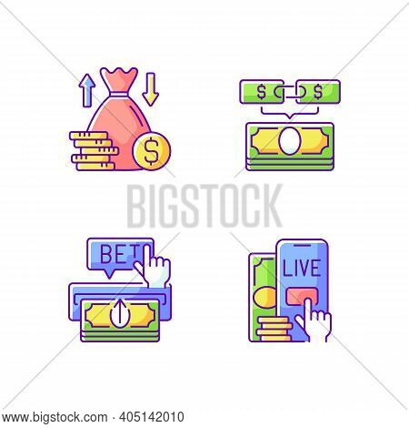 Bookmaking Rgb Color Icons Set. Over And Under Bet. Parlay. Making Deposit. Live Betting. Predicting
