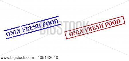 Grunge Only Fresh Food Stamp Seals In Red And Blue Colors. Seals Have Rubber Style. Vector Rubber Im