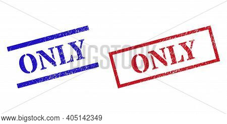 Grunge Only Rubber Stamps In Red And Blue Colors. Seals Have Rubber Surface. Vector Rubber Imitation