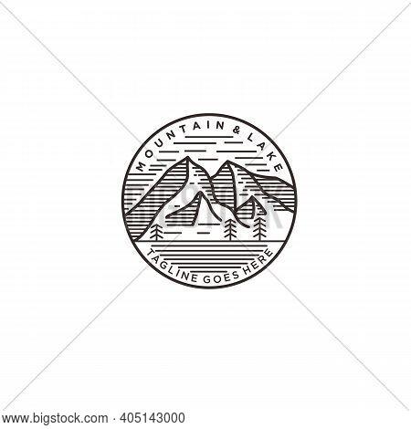 Simple Mountain And Lake Mono-line Logo Design