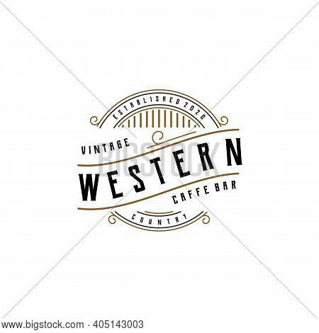 Vintage Cafe Bar Or Western Restaurant Retro Badge Emblem Logo Design