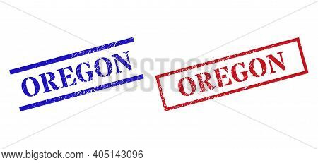 Grunge Oregon Rubber Stamps In Red And Blue Colors. Stamps Have Rubber Style. Vector Rubber Imitatio