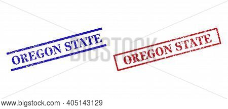 Grunge Oregon State Seal Stamps In Red And Blue Colors. Stamps Have Rubber Style. Vector Rubber Imit