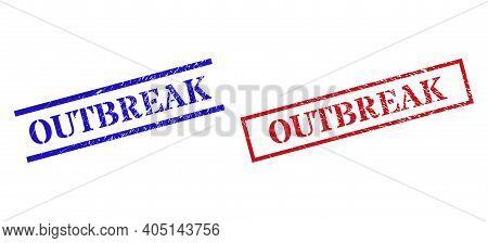 Grunge Outbreak Stamp Seals In Red And Blue Colors. Seals Have Rubber Surface. Vector Rubber Imitati