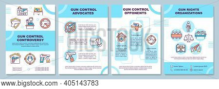 Gun Control Controversy Brochure Template. Weapon Rights Organization. Flyer, Booklet, Leaflet Print