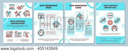 Gun Ownership Pros And Cons Brochure Template. Control Initiatives. Flyer, Booklet, Leaflet Print, C