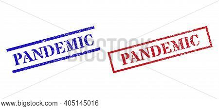 Grunge Pandemic Rubber Stamps In Red And Blue Colors. Stamps Have Rubber Surface. Vector Rubber Imit