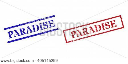 Grunge Paradise Rubber Stamps In Red And Blue Colors. Stamps Have Draft Style. Vector Rubber Imitati