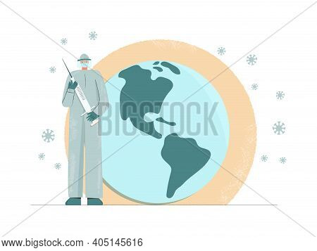 Global Vaccination Immunization Concept. Doctor Carrying Big Syringe Injecting. Prevention, Cure And