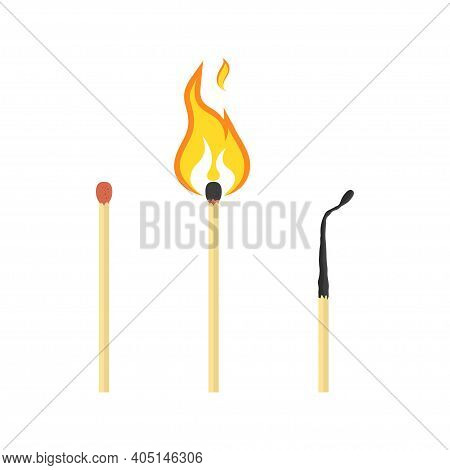 Set Of Matches With Flame. Used, Burning And Burnt Match Icon.  Vector Illustration