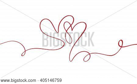 Flourish Vintage Vector Divider Valentines Day Hand Drawn Calligraphic Heart. Calligraphy Illustrati