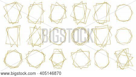 Golden Geometric Frames. Geometrical Polyhedron, Art Deco Style For Wedding Invitation. Set Of Luxur