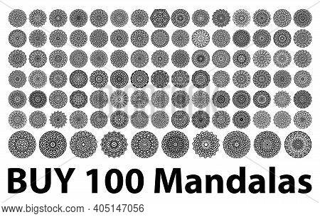 Various Mandala Collections - 100. Ethnic Mandala Ornament. Round Pattern Set.