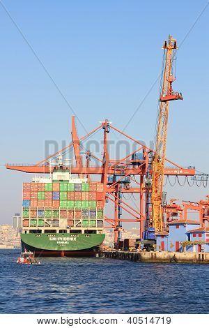 Cargo ship in seaport