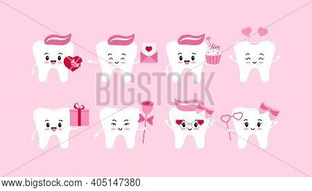 Teeth Valentines Day Dental Icon Set Isolated. Dentist Cute White Tooth Character In Love With Heart
