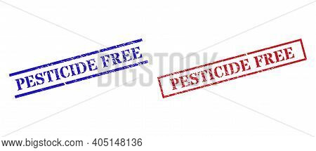 Grunge Pesticide Free Stamp Seals In Red And Blue Colors. Seals Have Draft Style. Vector Rubber Imit