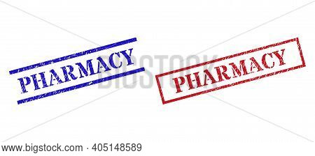 Grunge Pharmacy Rubber Stamps In Red And Blue Colors. Stamps Have Rubber Texture. Vector Rubber Imit