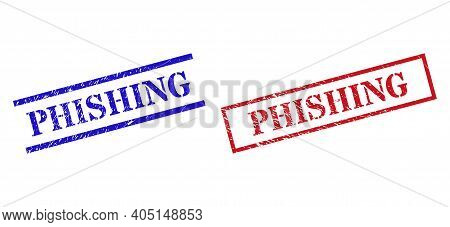 Grunge Phishing Seal Stamps In Red And Blue Colors. Stamps Have Draft Style. Vector Rubber Imitation