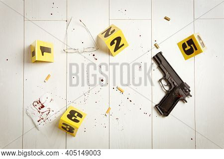 Flat Lay Composition With Evidences On White Wooden Background. Crime Scene