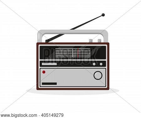 Radio Icon Isolated On White Background. Vintage Object Vector Illustration.