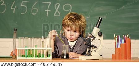 School Education. Explore Biological Molecules. Toddler Genius Baby. Technology And Science Concept.