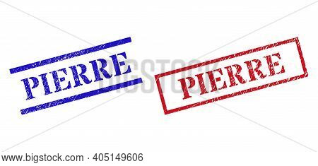 Grunge Pierre Rubber Stamps In Red And Blue Colors. Stamps Have Draft Surface. Vector Rubber Imitati