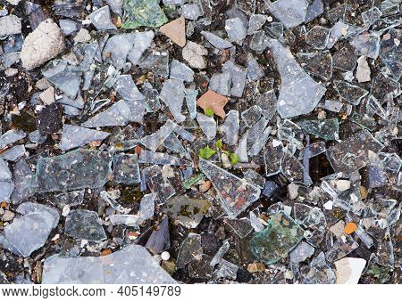 Background Texture Pieces Of Broken Glass. Broken Glass. Broken Bottles On The Ground. Shards Of Gla