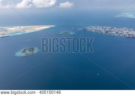 Aerial View Of Beach In Maldives. Aerial Drone View Of Picture Perfect Beach And Turquoise Lagoon On