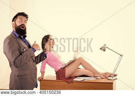 Provocative Clothes Office Worker. Office Manager Or Secretary. Sexy Personal Secretary. Full Of Des