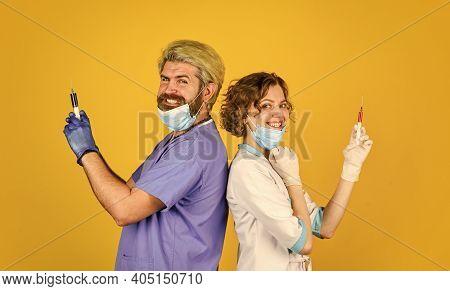 Coronavirus. Vaccination Concept. Vaccination Program. Stop Epidemic. Health Care. Vaccination Syrin
