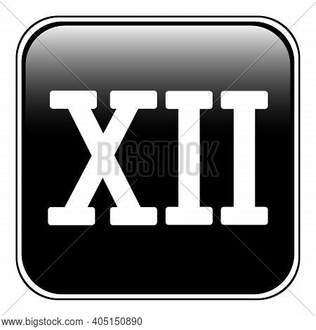 Roman Numeral Twelve Button On White. Vector Illustration.