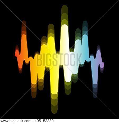 Spectrum Sound Wave Logo.jpeg Digital Colorful Waveform With Blur Effect On Black Background. Modern