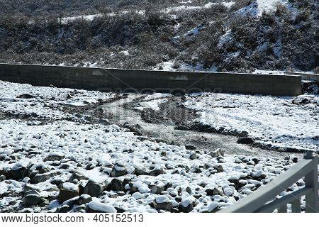 In Winter, The River Water Decreased . In Winter, The River Water Decreased . Concrete Body In The R