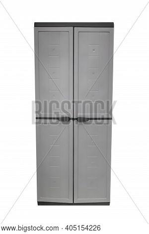 Gray Plastic Wardrobe Isolated On White Background