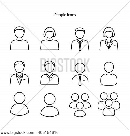 Set Of Different People Icons, Isolated On White Background